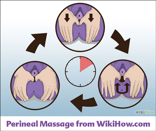Illustrations from WiiHow.com showing how to push down into a woman's vagina with your thumbs to do perineal massage.